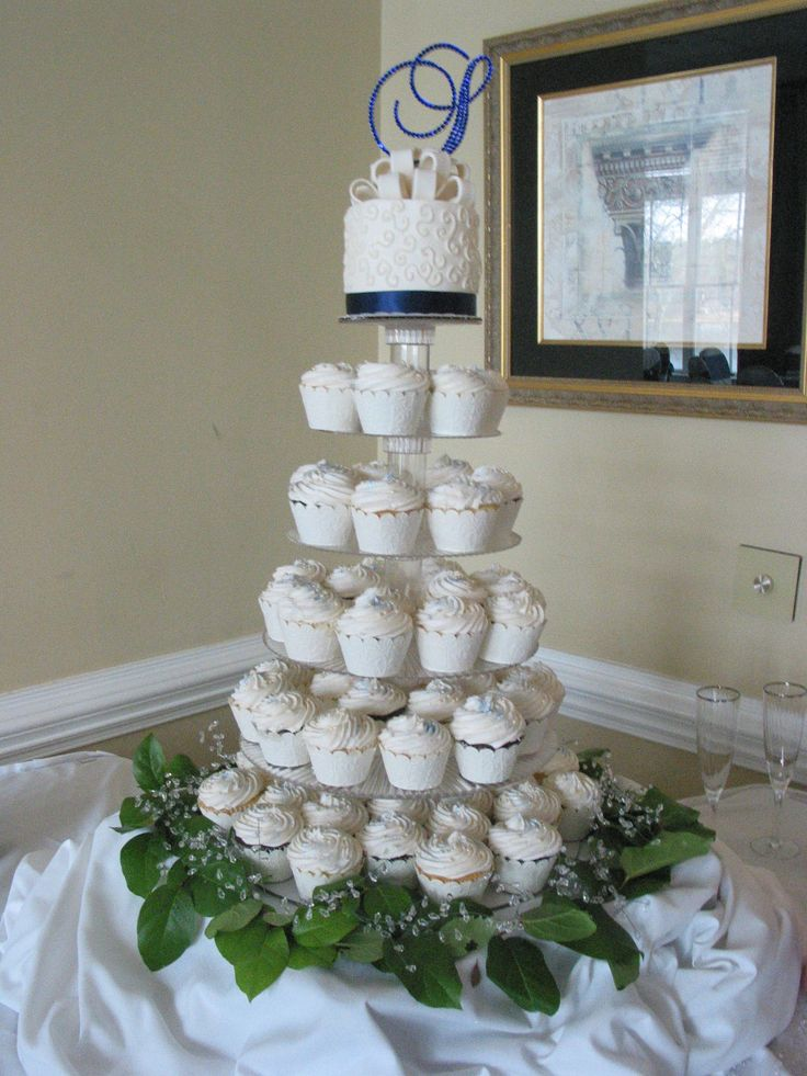 Vintage Bakery, LLC. Columbia SC Region. Wedding Cupcakes Blue Monogram.  (803