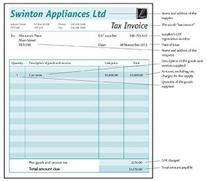 Example of a valid tax invoice