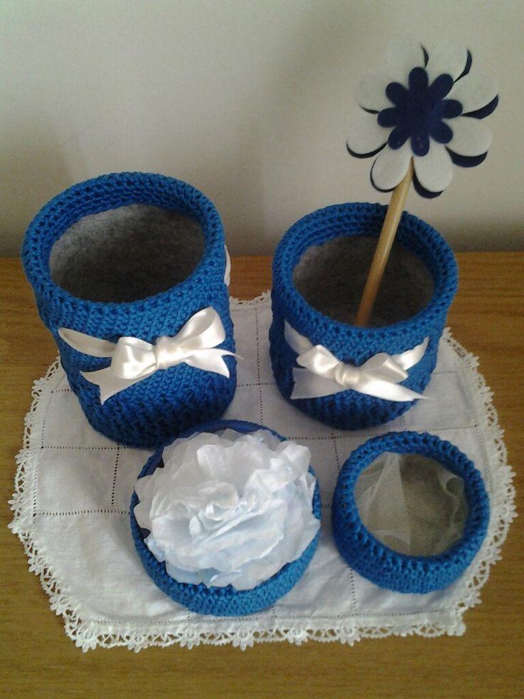 Set per scrivania - Portapenne e oggetti  #setscrivania #portapenne #portaoggetti #crochet #uncinetto #feltro