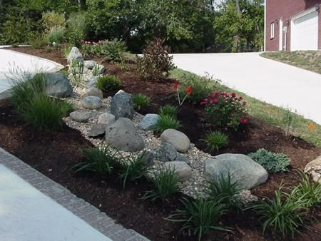 Dry creek designs with waterfall at one end in area now for Dry landscape design