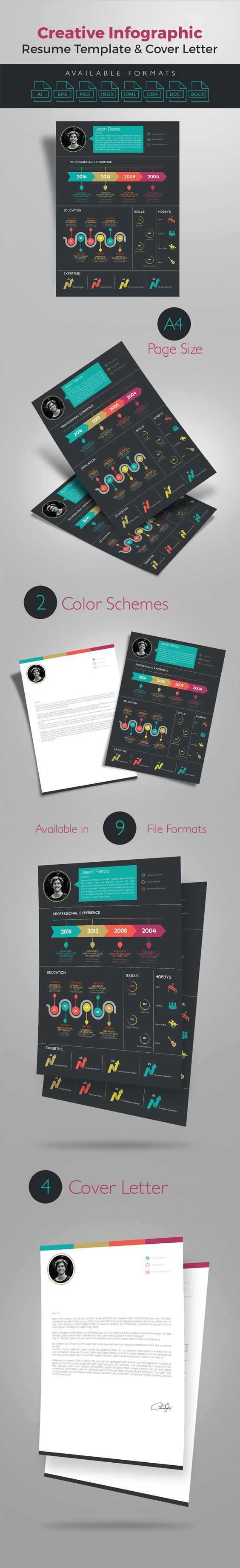 receptionist sample resume%0A Creative Infographic Resume Template With Cover Letter