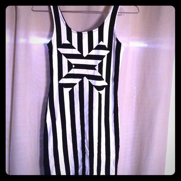 Black and white striped bodycon dress no background