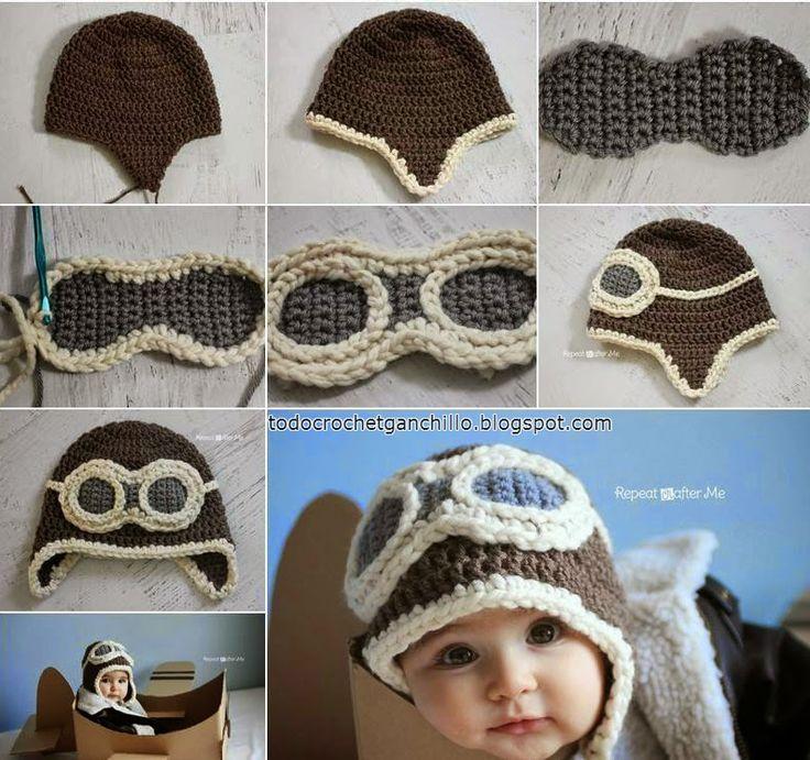 Gorro de aviador para bebé - paso a paso en fotos | Todo crochet