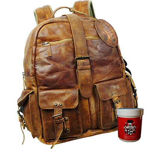 BARON of MALTZAHN Rucksack Citybag JEROME aus braunem Rugget-Hide Leder incl. Lederpflege