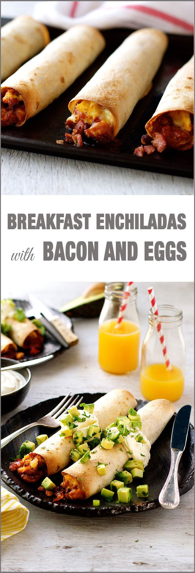 Bacon and Egg Breakfast Enchiladas - bacon and eggs with Mexican tomato beans and cheese wrapped in a tortilla then baked until crispy. What a way to start a day!