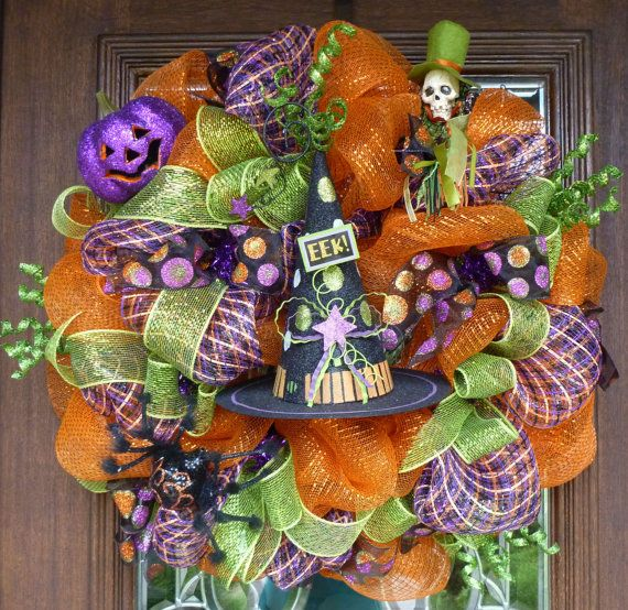 Deco Mesh HALLOWEEN EEK HAT Wreath