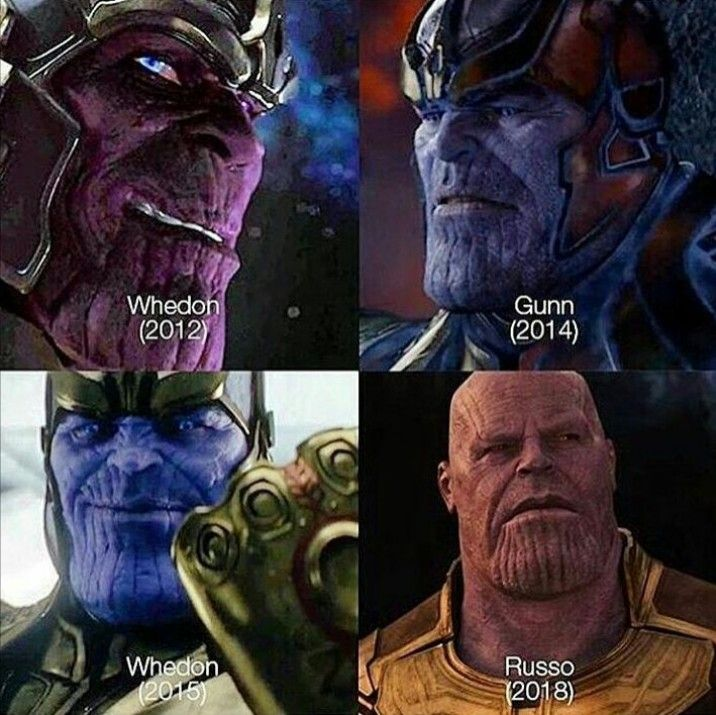 Thanos in The Avengers (2012), Guardians of the Galaxy (2014), Avengers Age of Ultron (2015), and Avengers Infinity War (2018)