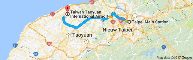 Kaart van Taipei Main Station, No. 49號忠孝西路1段 Zhongzheng District, Taipei City, Taiwan 10041 naar Taiwan Taoyuan International Airport, No. 9, Hangzhan S Rd, Dayuan District, Taoyuan City, Taiwan 33758
