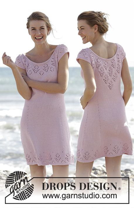 "Knitted DROPS dress with round yoke and lace pattern, worked top down in ""Muskat"". Size: S - XXXL. Free pattern by DROPS Design."