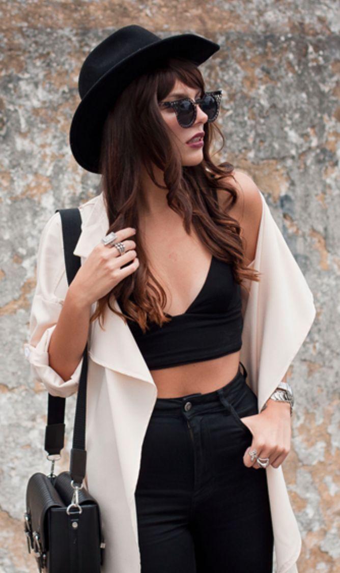 Crop top and black denim pencil skirt