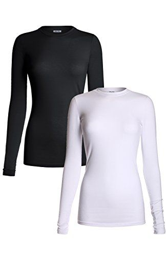 MedPro Women's Medical Scrub Solid Long Sleeve Undershirt Multi Pack ASTD:White,Black M.