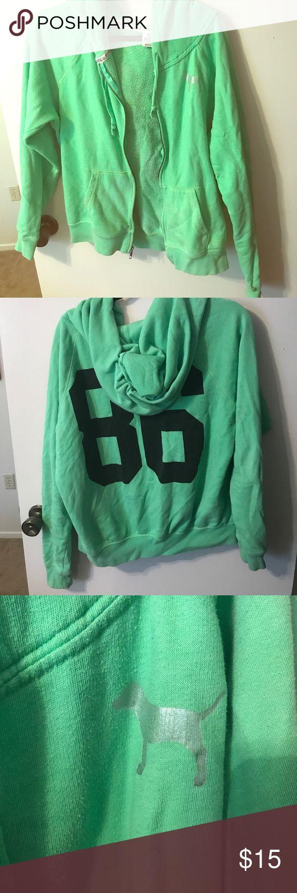 Victoria secret green zip up hoodie Bright green comfy zip up hoodie! The perfect light weight jacket PINK Victoria's Secret Jackets & Coats