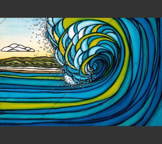 Внешний риф - на Гавайи прибой художника Хизер Браун