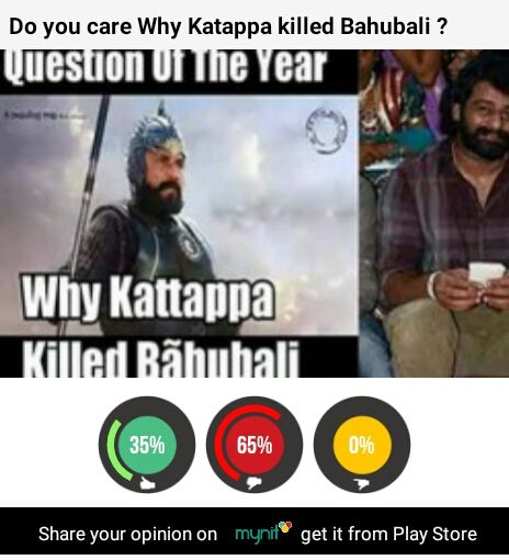 Who cares #saymyniters. Katappa aur #bahubali ki hui thi ladai to hum kya karein? Catch the latest app for opinions and much more, mynit! https://play.google.com/store/apps/details?id=com.talentuno.mynit&hl=en
