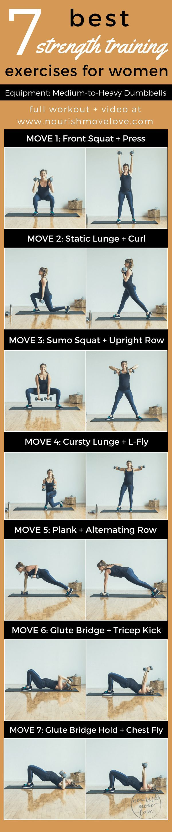 Pair this with short cardio for an all around strength + cardio workout. 7 Best Strength Training Exercises for Women | www.nourishmovelove.com
