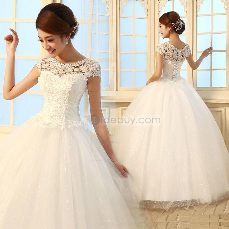 豪華なAライン床長さスクープレースチュールウェディングドレス