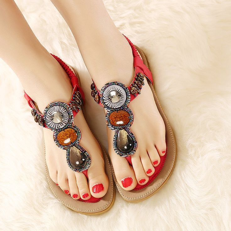Price tracker and history of Big Size Europe Hot 2017 Bohemian Women Sandals  Gemstone Beaded Slippers Ladies Flat Sandals Girls Summer Sandals Vintage