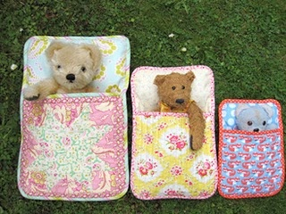 Sleeping bags for the dolls and stuffed animals.
