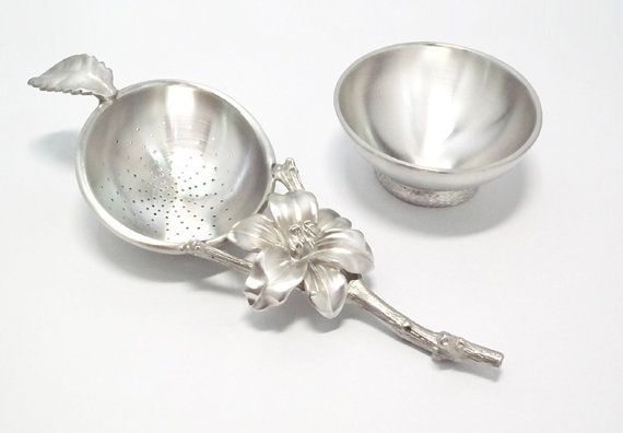 Handmade Pewter Lily Tea Strainer TS012 by TITASY on Etsy
