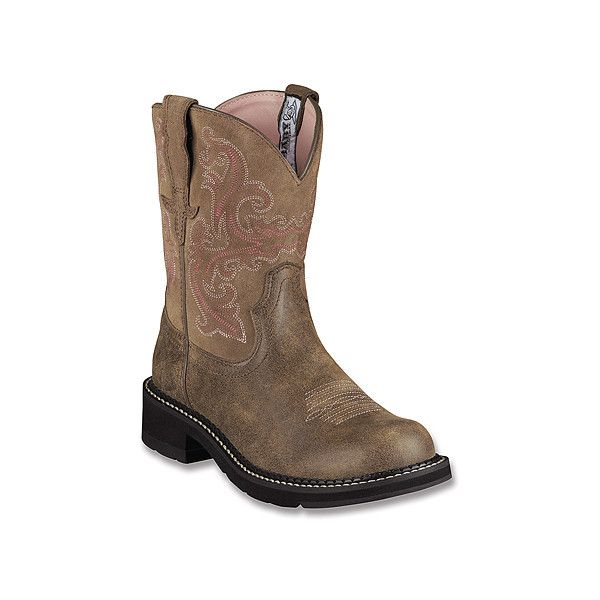 Ariat Fatbaby Boots ($90) ❤ liked on Polyvore featuring shoes, boots, brown bomber, men, western cowgirl boots, brown cowgirl boots, western style boots, slip-on shoes and pull on boots