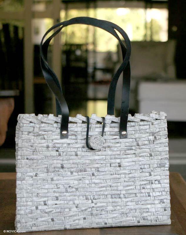 WANT. Woven recycled newspaper handbag