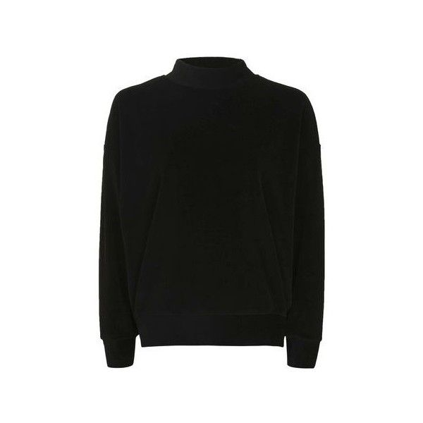 TopShop Petite Velvet Sweatshirt (45 AUD) ❤ liked on Polyvore featuring tops, hoodies, sweatshirts, black, petite tops, funnel sweatshirt, funnel neck top, funnel collar sweatshirt and velvet sweatshirt