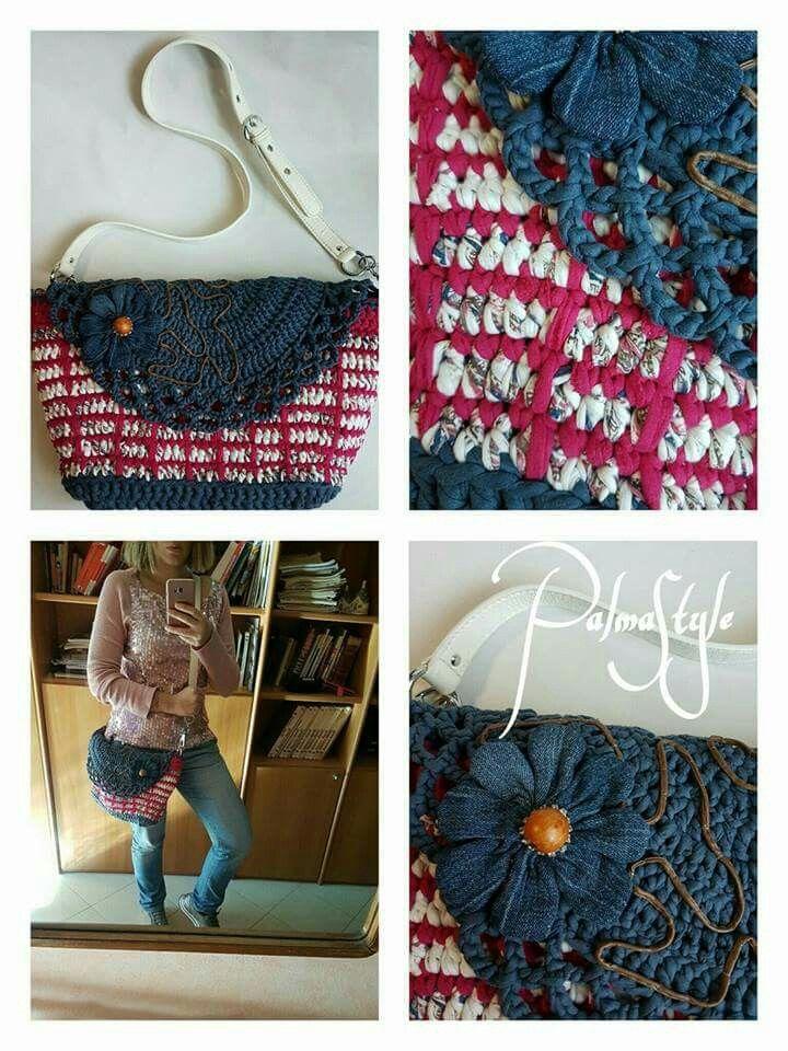 Craft bag, handmade bag, hooked bag, crochet bag.