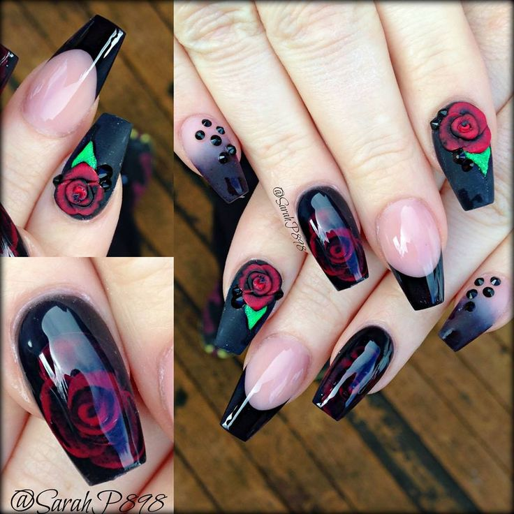 Glam Mood Changing Encapsulated Rose Acrylic 3DNail Design with Dots