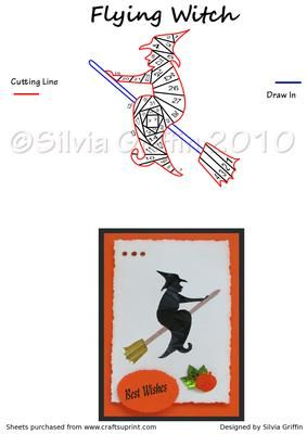 Flying Witch on Craftsuprint designed by Silvia Griffin - Cute little witch for your children or friends. Hope you like her. Thanks for looking at my patterns. - Now available for download!