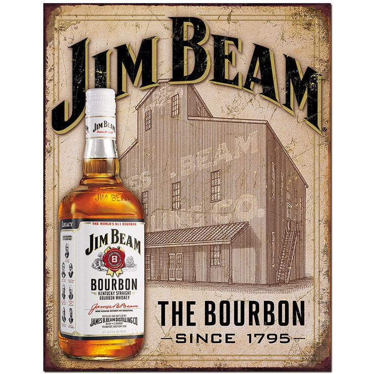 Jim Beam the Bourbon Whiskey Since 1795 Metal Sign Jim