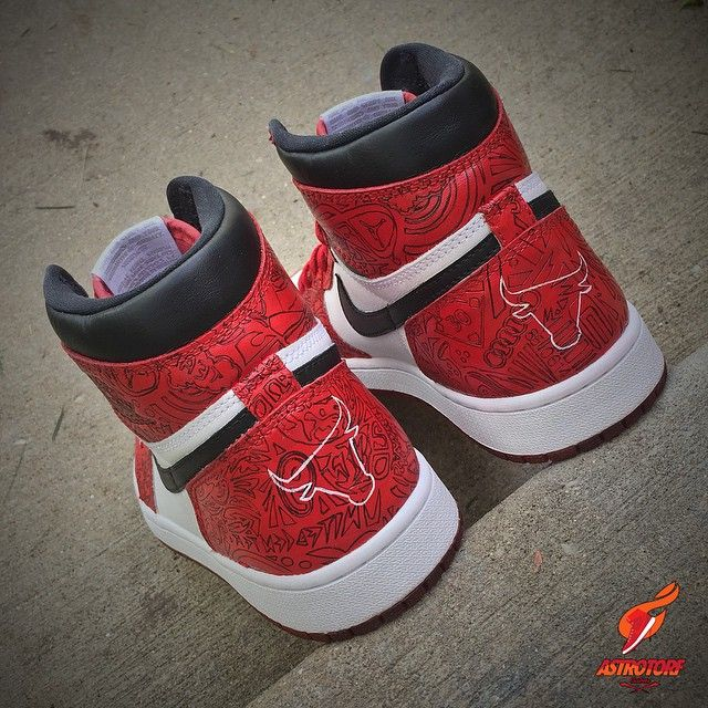 Windy City Laser 1 Hand-painter laser print, red dyed soles and Bulls logo on the heels. Went with red tongue instead of classic white and switched the tongue tag to black