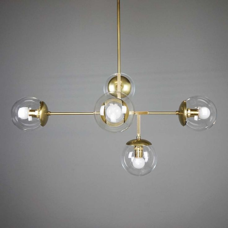 Brass Prisma Globe Chandelier Lighting Clear Globes