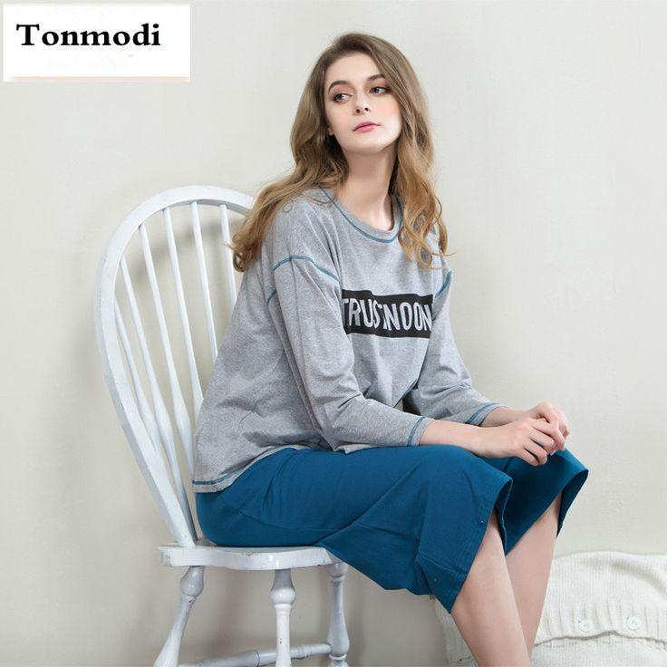 New 2016 Summer Pajamas Women Cotton Pullover Sleepwear Loose Pyjamas Ladies Pajama Set Lounge Womens Pajamas