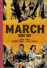March Book One Tells the first years of Congressman's John Lewis's life and how he became a leader in the lunch counter sit-ins in Nashville, Tennessee.