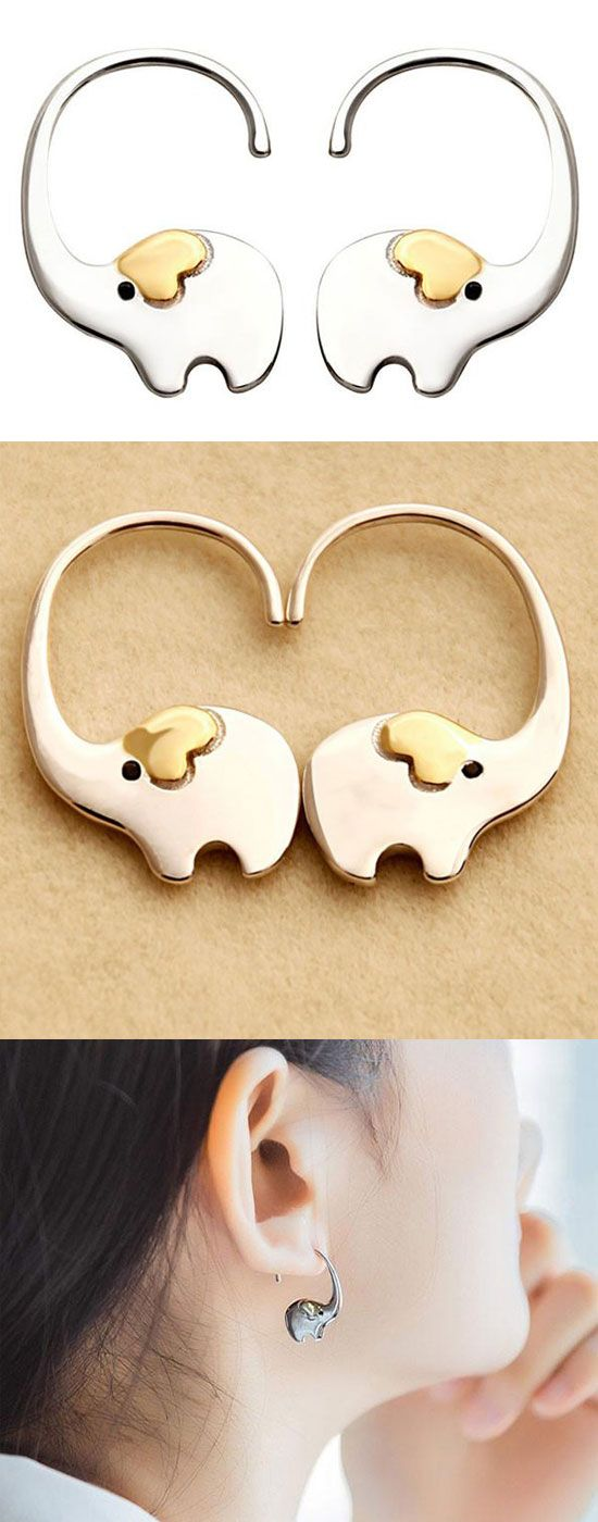 Cute Elephant Nose Hang Animal Earring Studs Silver Women Eardrop for big sale ! #cute #elephant #nose #hang #animal #earrings #silver