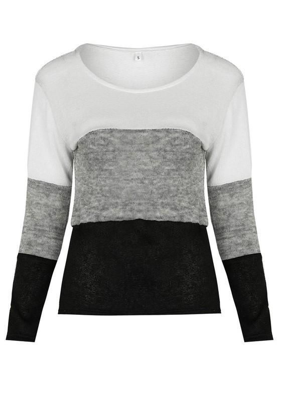 fec2af67097 Black Grey Color Block Print Round Neck Casual Pullover Sweater | My ...
