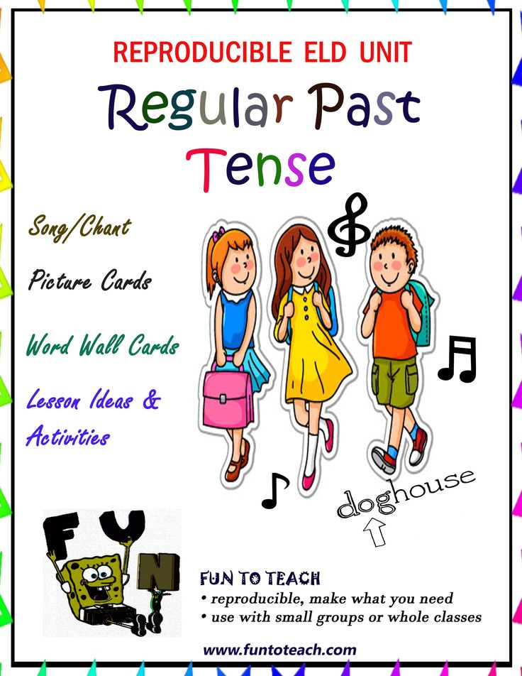 """Past Tense Verbs Ready, set, sing! Regular verbs end in """"ed."""" They make the past tense perfectly. T, id, and d, Are the sounds of """"ed."""" They make the past tense easily. Open your past tense verb English lesson with a song that will raise the oral academic language of your students to new heights. The regular past tense verb song is used in a call back or chant style. The fun lyrics with picture support provide a compelling way to begin your ELD lesson while targeting complex regular past…"""