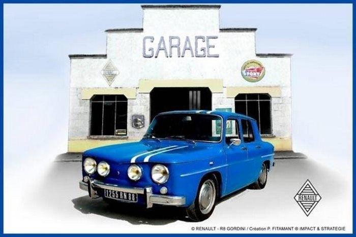 Renault R 8 – Gordini : Plaque décorative rétro en métal représentant une Renault R8 Gordini. Idéal pour créer une décoration vintage dans un garage, un atelier, un bar, un troquetou même dans une concessionauto.