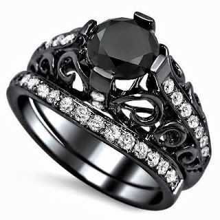 Black Round Diamond Engagement Ring Bridal SetStore Diamond Engagement RingDiamond Engagement Ring