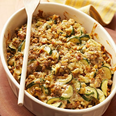 Zucchini-Sausage Casserole. Looking for interesting recipes to use all our fresh deer sausage.