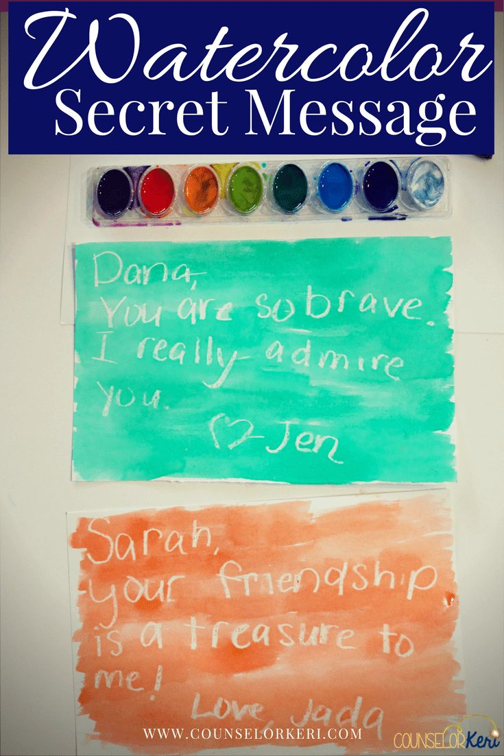 Watercolor Secret Message Small Group Counseling Activity