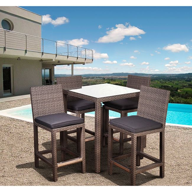 Atlantic Olivia Grey Wicker Outdoor Barstools Set Of 2