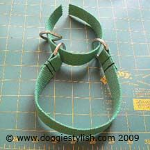 DIY martingale collar -- I made two for the boys, but decorated the polypropylene webbing with ribbons before sewing it all together. They match the custom seat belts I just made to secure the boys in the back of the car.