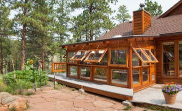 Sunroom attached greenhouse great rooms pinterest for Sunroom attached to house