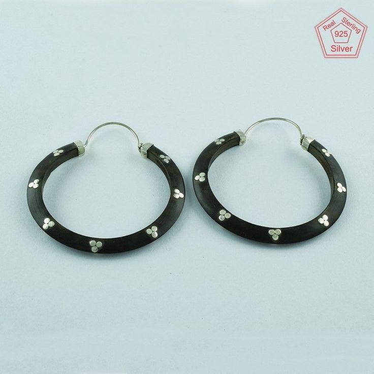 Beautiful Real Solid 925 Sterling Dotted Wooden Hoop Earrings E3626 #SilvexImagesIndiaPvtLtd #Hoop