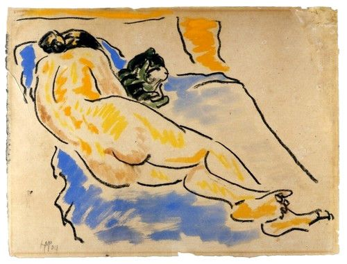 Max PECHSTEIN (1881 - 1955) Liegender weiblicher Akt (1909, encre et aquarelle sur papier, Berlin, Brücke-Museum)