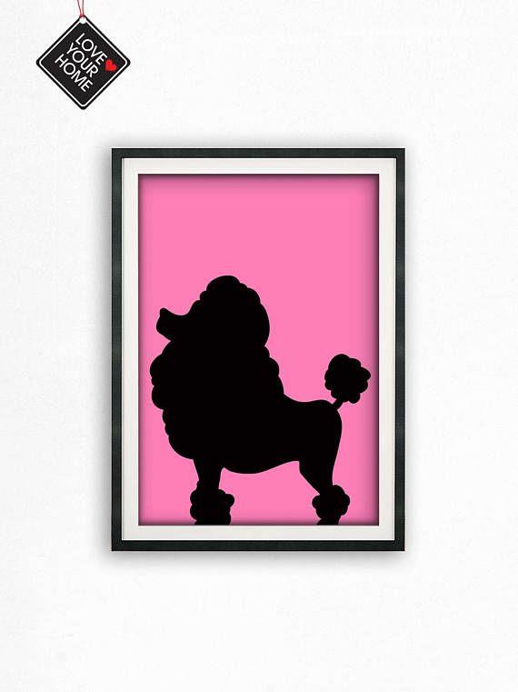 Poodle Dog Wall Art Pink Wall Art Wall Decor Printable Wall   images ...