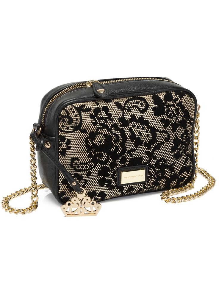 Black & Gold Lace shoulder bag - Fornarina