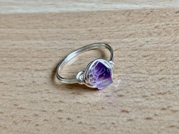 Wire wrapped Amethyst ring  Crystal ring Purple gemstone ring Silver wire ring Wrapped Ring Ring Amethyst Ring February Birthstone