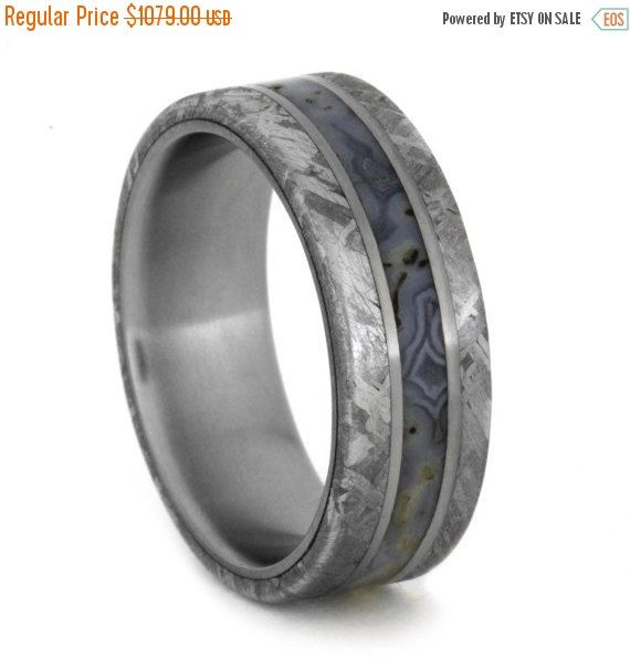 Wedding Sale Dinosaur Bone Ring with Meteorite Edges Separated by Two Titanium Pinstripes, Titanium Wedding Band